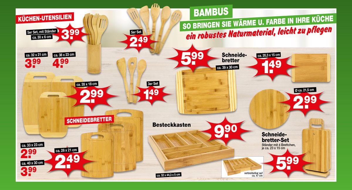 Bringen Sie mit Küchen-Utensilien oder Schneidebrettern aus Bambus Wärme und Farbe in Ihre Küche.