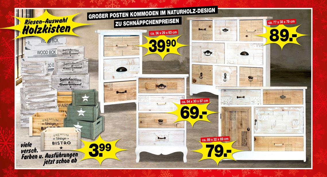 Kommoden im Naturholz-Design und Holzkisten unschlagbar günstig!
