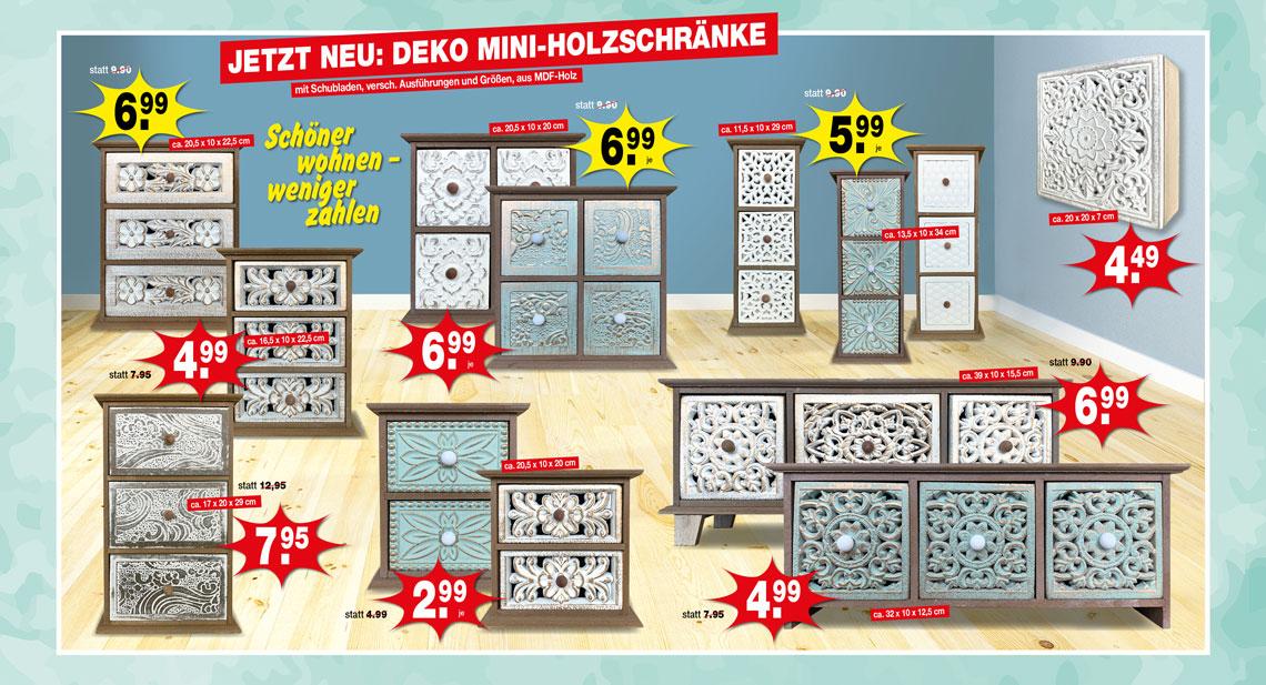 Jetzt neu: Deko Mini-Holzschränke